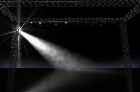 単一のスポット ライトに照らされて闇の中で空の音楽コンサート ステージの 3 D レンダリング