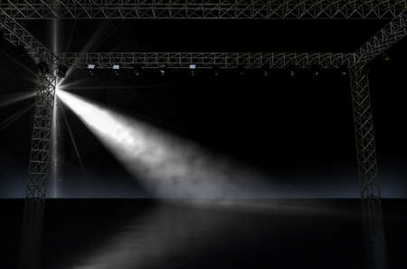 rigging: A 3D render of an empty music concert stage in darkness lit by a single spotlight