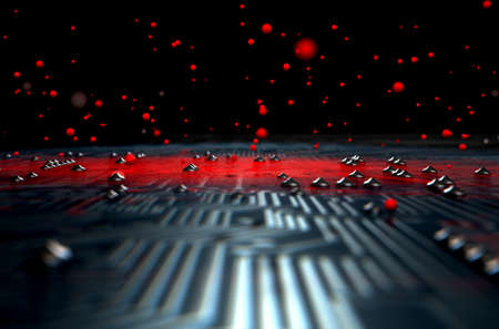 apparent: A 3D render of a macro view of a circuit board with a red apparent infection virus spreading from the center on a dark background