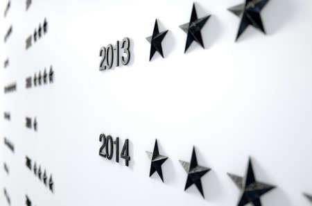 cronologia: Una representación 3D de un primer plano de una placa de honor que muestra las estrellas para representar logros anónimas por parte de personas no identificadas a través de los años Foto de archivo