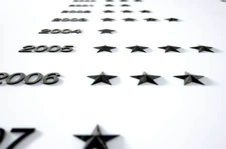 sequential: A 3D render of a closeup of an honorary board that displays stars to represent anonymous achievements by unidentified individuals  through the years