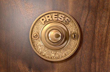 door bell: A 3D render of a vintage brass doorbell on an isolated wooden background