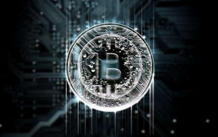 Eine 3D-Darstellung von einem Makro-Ansicht einer Leiterplatte mit einem digitalen bitcoin darüber auf einem dunklen Hintergrund Projizieren