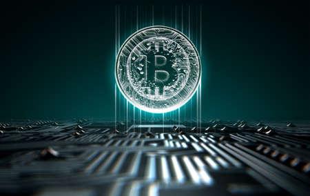 Un rendu 3D d'une vue macro d'une carte de circuit imprimé avec un bitcoin numérique saillie au-dessus sur un fond sombre Banque d'images - 59144295