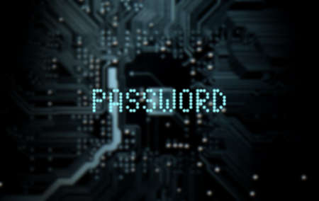 secret code: A 3D render of a macro view of a circuit board with blue digital text projecting above it saying password on a dark background Stock Photo