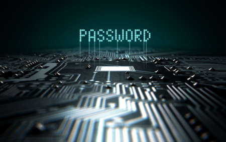 electronic: A 3D render of a macro view of a circuit board with blue digital text projecting above it saying password on a dark background Stock Photo