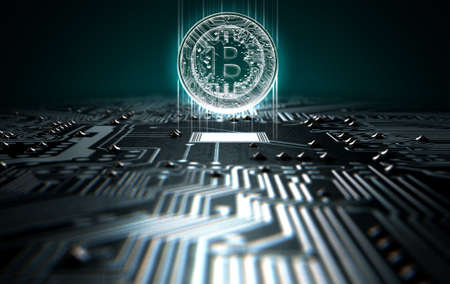 A 3D render of a macro view of a circuit board with a digital bitcoin projecting above it on a dark background