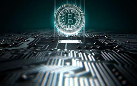 Una representación 3D de una visión macro de una placa de circuito con un Bitcoin digital de la proyección por encima de ella sobre un fondo oscuro Foto de archivo