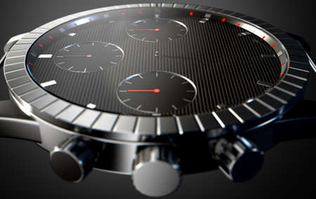 pointless: A 3D rendering of a macro closeup of a modern mens watch with elegant black and chrome finishes but with no hands on a dark studio background
