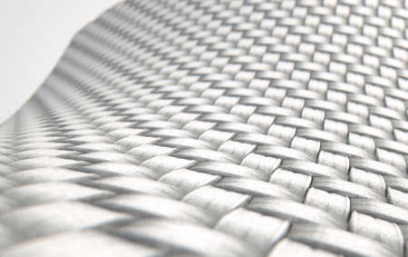 microscopic: A 3D render of a microscopic view of a simple woven textile on a white background Stock Photo