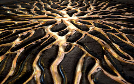 seep: A 3D render of an abstract concept showing molten gold metal flowing through crevices of a dark rock in the shape of an interconnected network