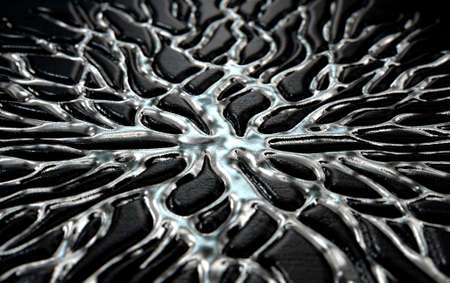 A 3D render of an abstract concept showing molten silver metal flowing through crevices of a dark rock in the shape of an interconnected network