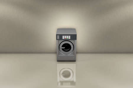 shiny floor: A 3D render of an empty industrial metal washing machine in an empty room with a shiny floor and walls