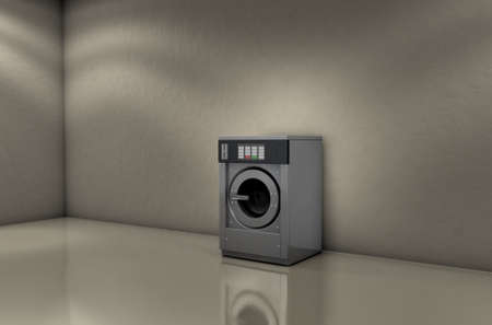 launderette: A 3D render of an empty industrial metal washing machine in an empty room with a shiny floor and walls