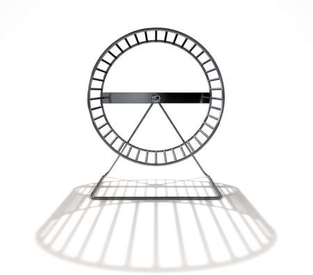 A 3D render of a close up of an empty regular hamster wheel made of metal on an isolated white studio background