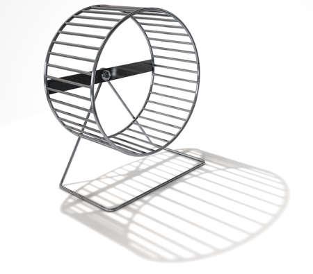 Eine 3D-Darstellung von einem der Nähe eines leeren regelmäßig Hamsterrad up Hintergrund aus Metall auf einem isolierten weißen Studio Standard-Bild - 63860800