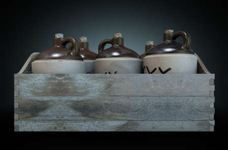 moonshine: A 3D render of a collection of five vintage moonshine jugs in a wooden carry crate on an isolated dark studio background