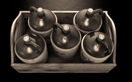 moonshine: A 3D render of a collection of five vintage moonshine jugs in a wooden carry crate on an isolated sepia studio background