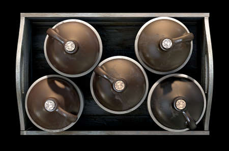 distill: A 3D render of a collection of five vintage moonshine jugs in a wooden carry crate on an isolated dark studio background