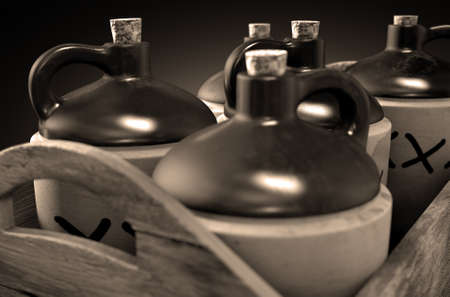 distill: A 3D render of a collection of five vintage moonshine jugs in a wooden carry crate on an isolated sepia studio background