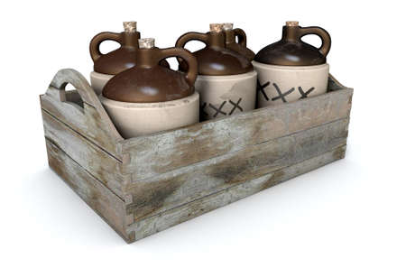 distill: A 3D render of a collection of five vintage moonshine jugs in a wooden carry crate on an isolated white studio background