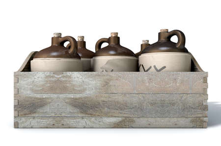 A 3D render of a collection of five vintage moonshine jugs in a wooden carry crate on an isolated white studio background