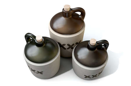 distill: A 3D render of a collection of three vintage moonshine jugs on an isolated white studio background