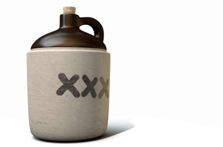A 3D render of a vintage moonshine jug on an isolated white studio background