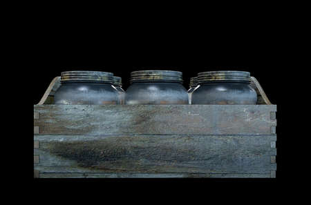 distill: A 3D render of a collection of five vintage moonshine glass jars in a wooden carry crate on an isolated dark studio background Stock Photo