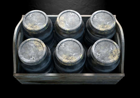 moonshine: A 3D render of a collection of five vintage moonshine glass jars in a wooden carry crate on an isolated dark studio background Stock Photo
