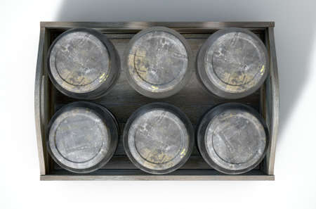 moonshine: A 3D render of a collection of five vintage moonshine glass jars in a wooden carry crate on an isolated white studio background Stock Photo