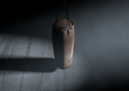 old vintage: A 3D render of an old worn vintage leather punching bag in a room dark room lit by an ethereal spotlight Stock Photo