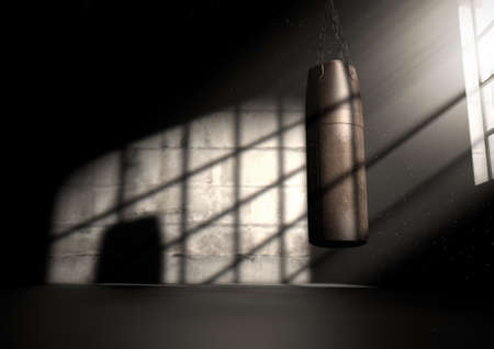 A 3D render of an old worn vintage leather punching bag in a room lit by an ethereal highlighting window light