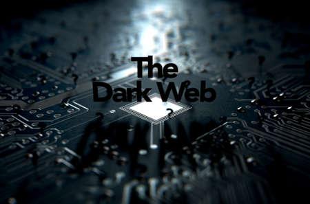 Un rendu 3D d'une vue notion macro d'une carte de circuit faiblement éclairé avec le mot web sombre et dispersés points d'interrogation noir sur un fond sombre Banque d'images - 60245379