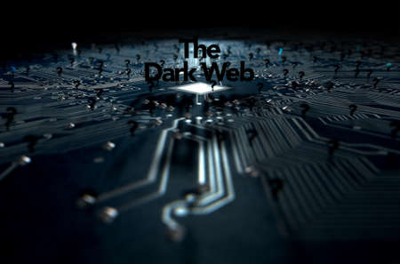 sordid: A 3D render of a macro view concept of a dimly lit circuit board with the word dark web and scattered black question marks on a dark background