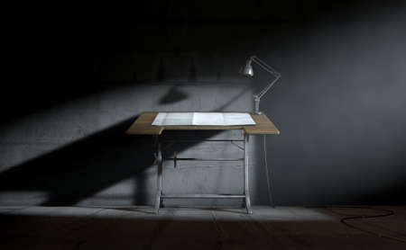 architect tools: A 3D rendering of a vintage draftsmans desk with a classic desk lamp and a sheet of blank paper on an dark room background