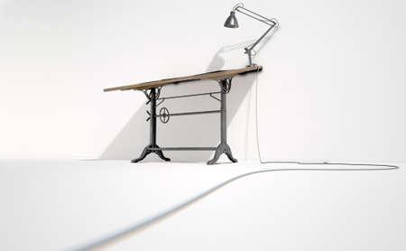 Una representación 3D de un escritorio draftsmans de la vendimia con una lámpara de escritorio clásico y una hoja de papel en blanco en un aislado fondo blanco del estudio