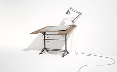 drafting tools: A 3D rendering of a vintage draftsmans desk with a classic desk lamp and a sheet of blank paper on an isolated white studio background