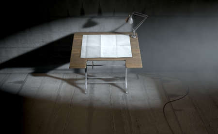 draftsmanship: A 3D rendering of a vintage draftsmans desk with a classic desk lamp and a sheet of blank paper on an dark room background
