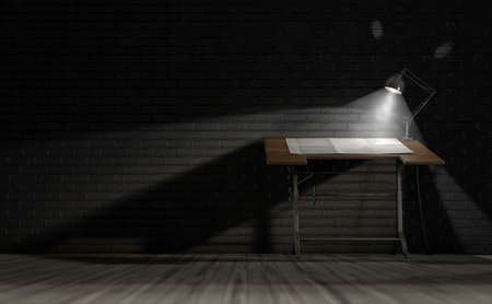 draftsmanship: A 3D rendering of a vintage draftsmans desk with a sheet of blank paper illumintaed by a classic desk lamp on an dark room background