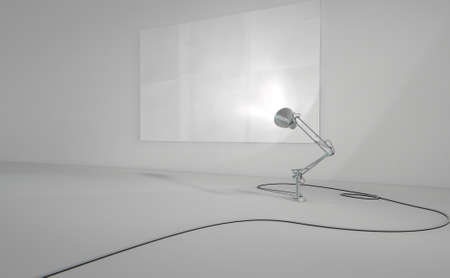desk light: A 3D render of a vintage desk lamp illuminating a blank paper poster on a light grey wall background Stock Photo
