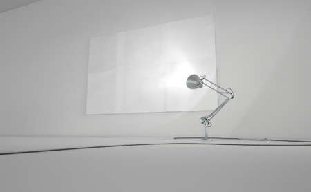 illuminating: A 3D render of a vintage desk lamp illuminating a blank paper poster on a light grey wall background Stock Photo