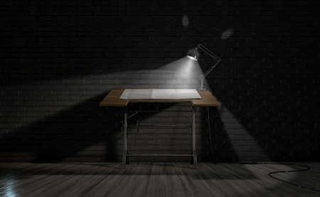 暗い部屋背景上にクラシック デスク ランプ用紙 Illumintaed 枚でヴィンテージ Draftsmans デスクの 3 D レンダリング の写真 素材・画像素材 Image 60644577.