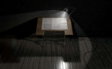 dark room: A 3D rendering of a vintage draftsmans desk with a sheet of blank paper illumintaed by a classic desk lamp on an dark room background