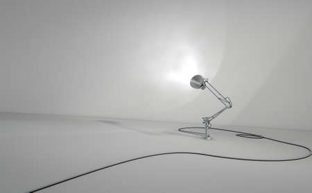 desk light: A 3D render of a vintage desk lamp illuminating a light grey wall background