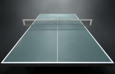 competitive sport: A 3d render of a table tennis table on an isolated dark studio background