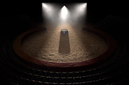 circus stage: A 3D render of a classic circus arena and an empty ringmasters podium backlit by dramatic spot lights on a dark moody background
