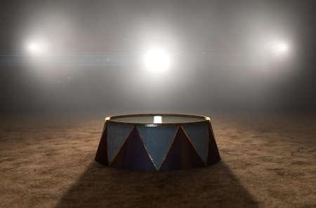 Un render 3D de un clásico estadio de circo y un podio de maestros de ceremonias vacío iluminado por espectaculares focos sobre un fondo oscuro y cambiante