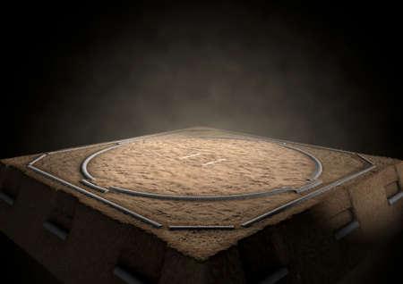 Un rendering 3D di un anello tradizionale sumo wrestling vuoto realizzato con sabbia fiocamente illuminata da riflettori su uno sfondo scuro Archivio Fotografico
