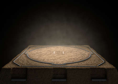 dimly: A 3D render of an empty traditional sumo wrestling ring made with sand dimly lit by spotlights on a dark background